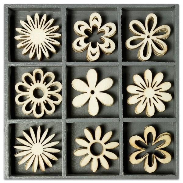 Mini-Holzornamente Blumen I 45 St. natur 23-30mm