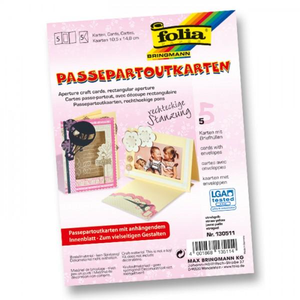 Passepartoutkarten DIN A6 5 St. Rechteck strohgelb inkl. Kuvert&Einlegeblatt, 220g/m²