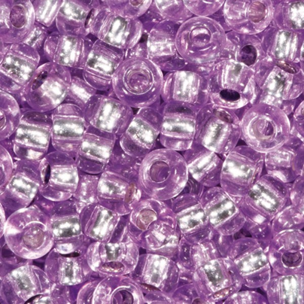 Rocailles transparent 2,6mm 17g lila Silbereinzug, Glas, Lochgr. ca. 0,9mm