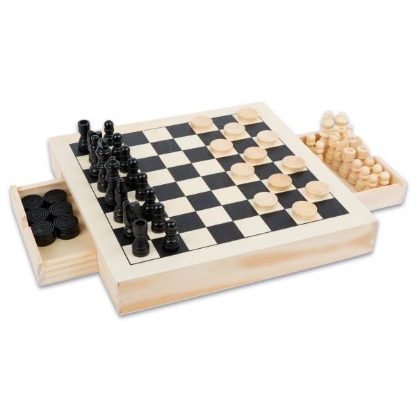 Spiele-Set Schach/Dame/Mühle Holz ca. 28x28x4cm ab 6 Jahren