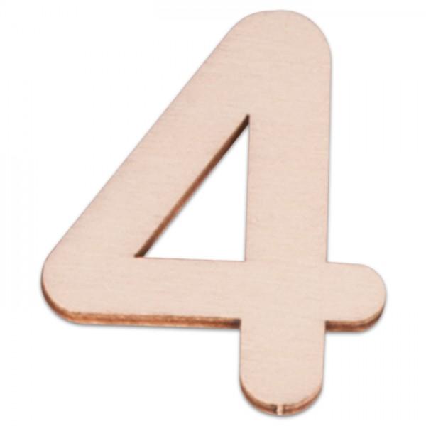 Holzzahl 4 ca. 3mm 6cm hoch natur