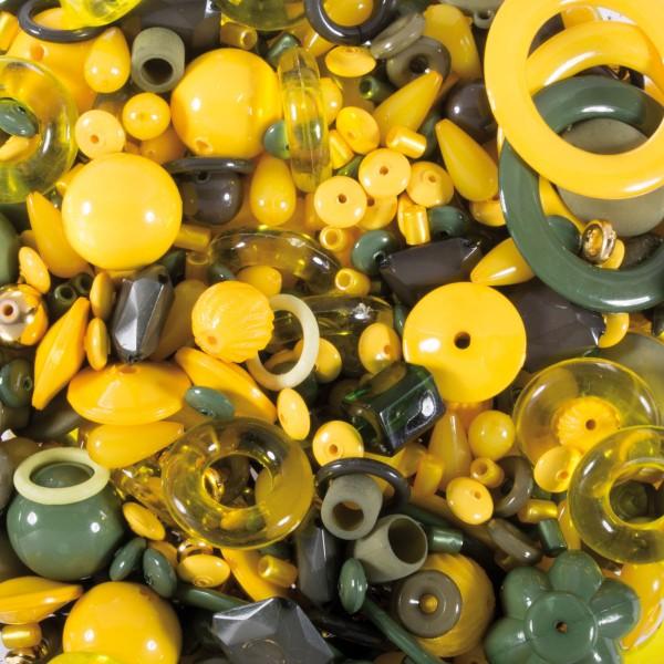 Kunststoffperlen-Mix 4-40mm gelb-grün-kupfer ca. 350-400g, Lochgr. ca. 0,9-12mm