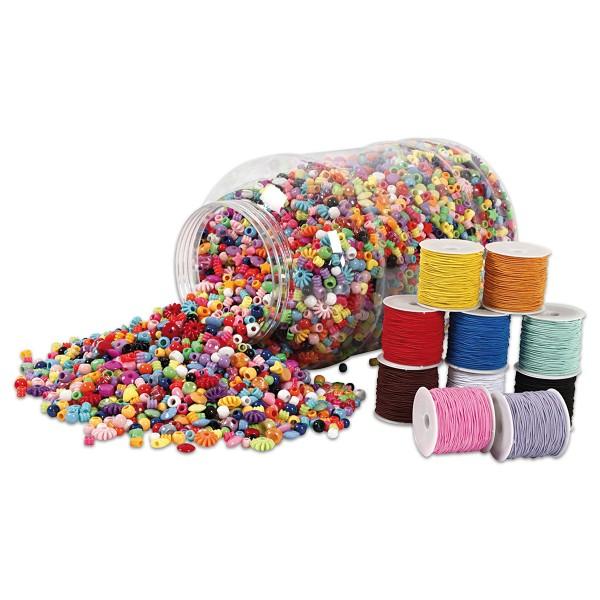 Kunststoffperlen-Mix 3kg mit Schmuckbänder 10x25m bunt