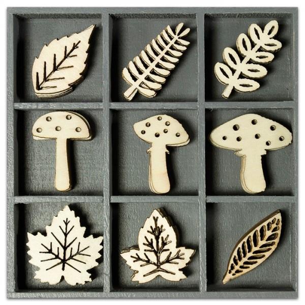 Mini-Holzornamente Pilze & Blätter 45 St. natur 23-30mm