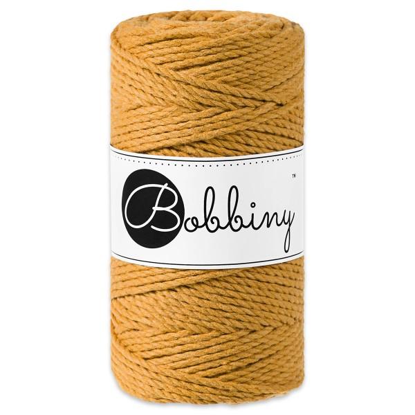 Bobbiny 3PLY Makramee-Kordel Ø3mm mustard ca. 300g-400g, 100% Baumwolle, LL 100m, 3x20 Fasern