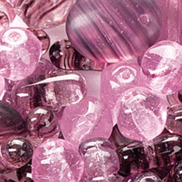 Glasperlen-Mix ca. 4-17mm 15g lila Lochgr. ca. 0,7-3mm