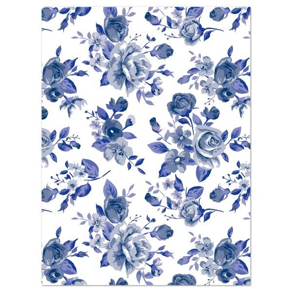 Decoupagepapier Rosen blau/grau/weiß von Décopatch, 30x40cm, 20g/m²