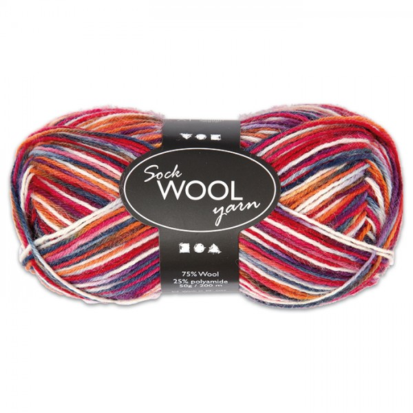 Sockenwolle 50g blau-rot 75% Wolle, 25% Polyamid, für Nadel Nr. 2,5-3