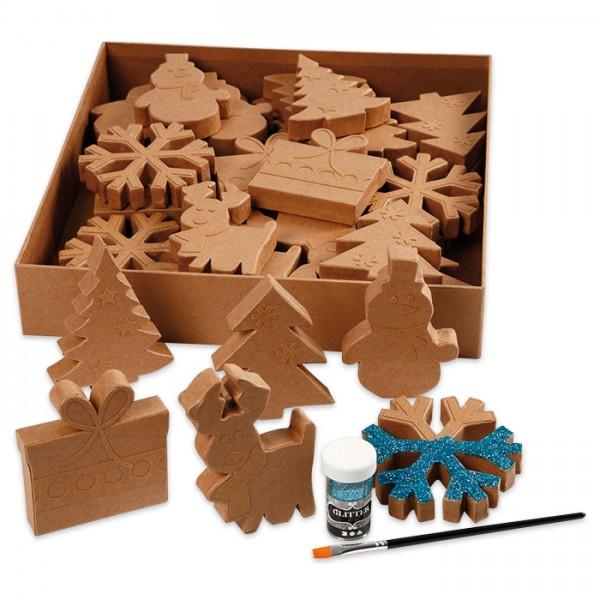 Weihnachtsfiguren 10-14cm hoch 6 Designs à 6 St. Pappmaché, 21mm stark