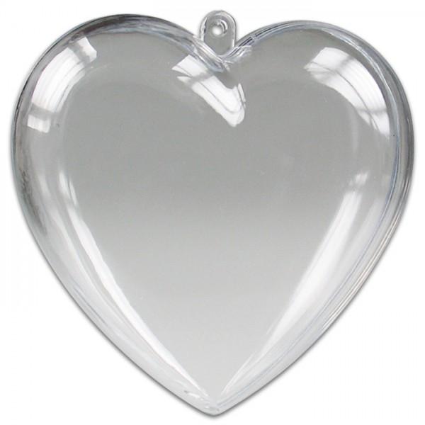 Kunststoff-Herzen glasklar 100mm 5 St. 2 Halbschalen zum Zusammenstecken