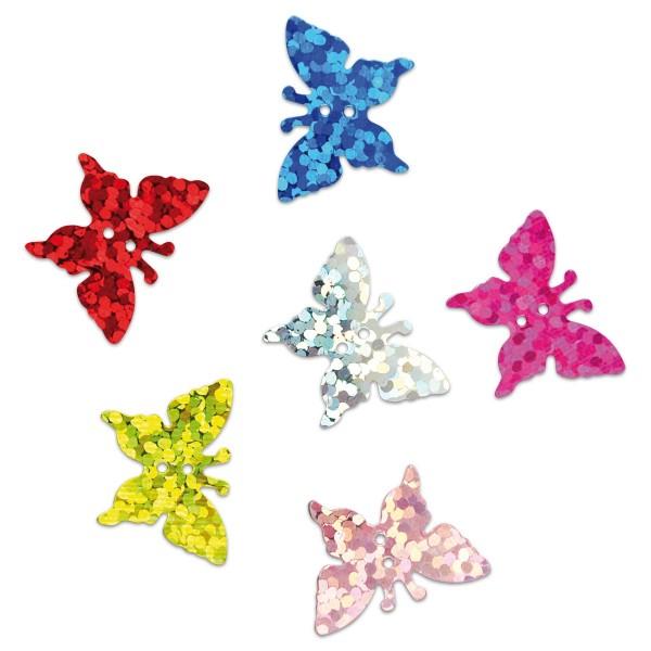 Streuteile Schmetterlinge Hologramm ca. 16x11mm 20g bunt Kunststoff, mit Loch zum Aufnähen