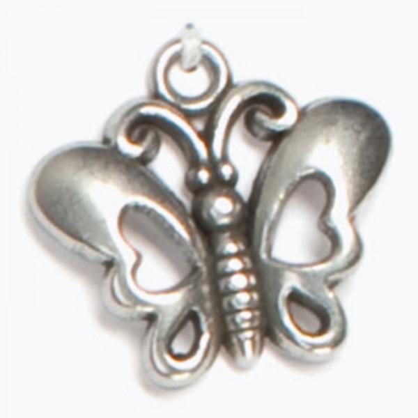 Metallanhänger Schmetterling ca. 20x21mm altplatinfarben, Lochgr. ca. 2mm
