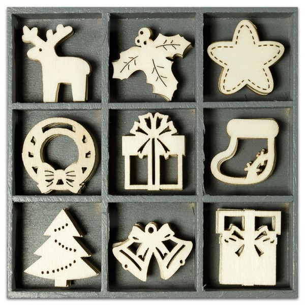 Mini-Holzornamente Weihnachten 1 45 St. natur 23-30mm