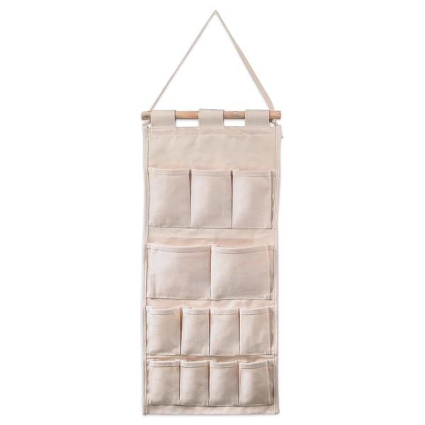 Utensilo/Wandtasche ca. 60x29cm natur 100% Baumwolle, Aufhängestab aus Holz