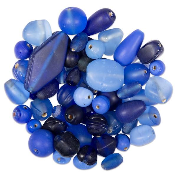 Glasperlen-Mix matt 6-26mm 100g mix blau Lochgr. ca. 0,9-1,5mm