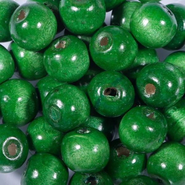 Holzperlen 12mm 35 St. dunkelgrün Lochgr. ca. 2mm