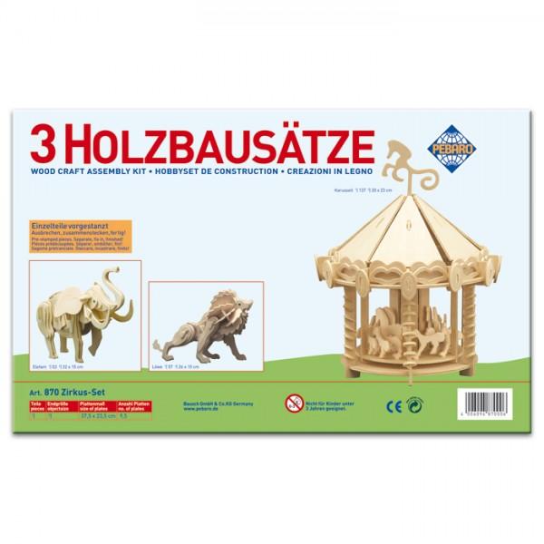 Holzbausatz Set Zirkus ca. 20-26cm 3 St. vorgestanzt, zum Zusammenstecken