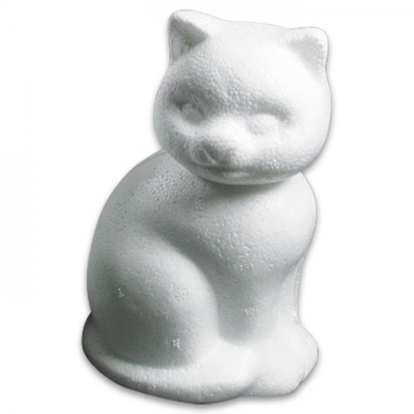 Styropor-Katze sitzend weiß 13cm