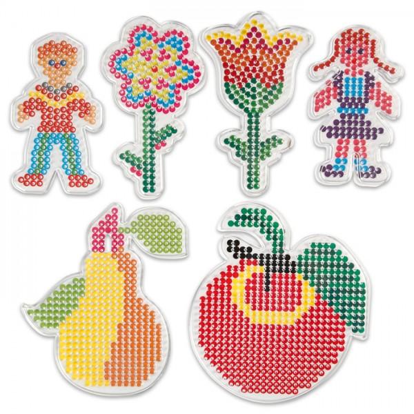 Steckplatten-Set Kunststoff 8,5-16cm 6 St. Garten transparent, für Nabbi-Bügelperlen medium