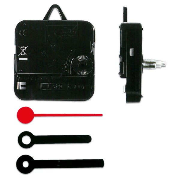 Quarzuhrwerk 55x55x18 mit Zeigern in Stabform 45-55mm Kunststoff, für Wandstärke 2-5mm, schwarz/rot