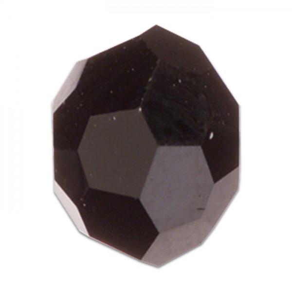 Facettenschliffperlen 6mm 30 St. satt schwarz feuerpoliert, Glas, Lochgr. ca. 1mm