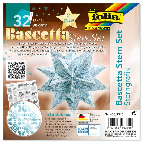 Bascetta-Stern ca. Ø 20cm 32 Bl. weiß/eisblau Sternengrafik 15x15cm, Transparentpapier, 90g/m²
