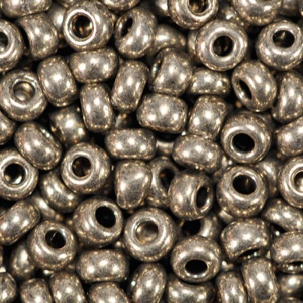 Rocailles metallic glänzend 2,6mm 17g grau Glas, Lochgr. ca. 0,9mm