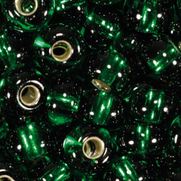 Rocailles transparent 4,5mm 500g grün Silbereinzug, Glas, Loch ca. 1mm