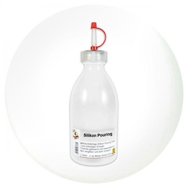 Just4Art Silikon Pouring Farbe 250ml titanweiß mit Spritzdüse