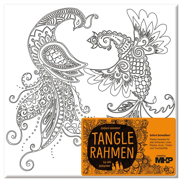 Tangle-Keilrahmen 20x20x2cm Paradiesvogelpaar