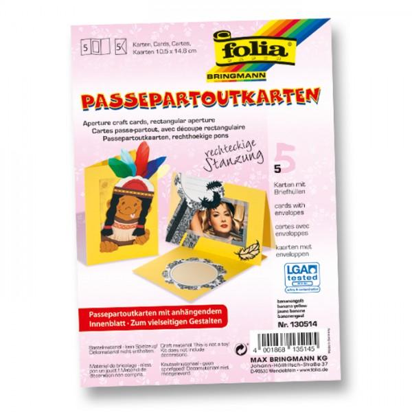 Passepartoutkarten DIN A6 5 St. Rechteck banane inkl. Kuvert&Einlegeblatt, 220g/m²