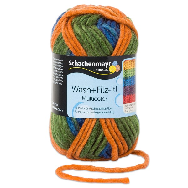 Wash+Filz-it Filzwolle multicolor 50g exotic stripes 100% Wolle, LL 50m, Nadel Nr. 8-9
