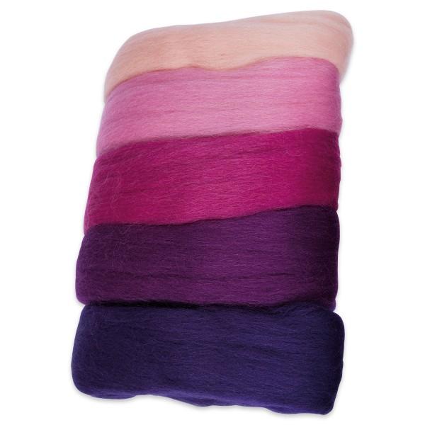 Kammzugwolle Merino 50g rosa/lilaton 100% Wolle vom südamerikanischen Merinoschaf