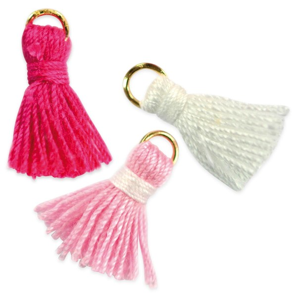 Quasten-Anhänger ca. 17mm 8 St. pink/rosa/weiß Textil/Metall, Lochgröße ca. 2-3mm