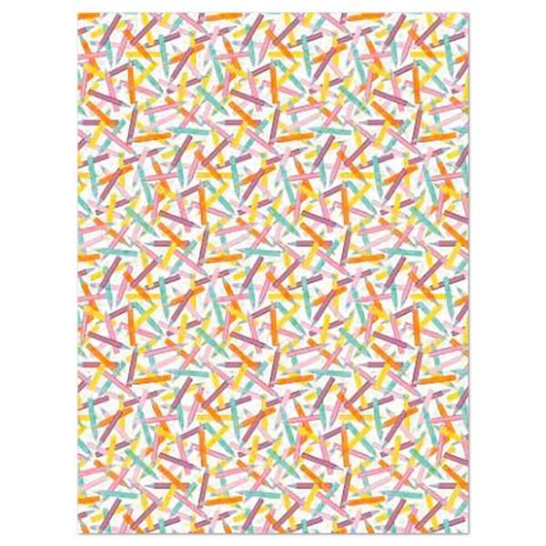 Decoupagepapier Stifte bunt auf weiß von Décopatch, 30x40cm, 20g/m²