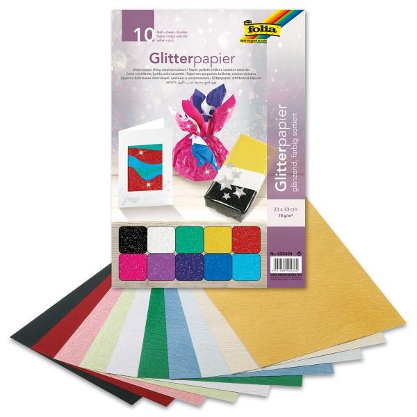 Glitterpapier glänzend 23x33cm 10 Bl./Farben 70g/m²