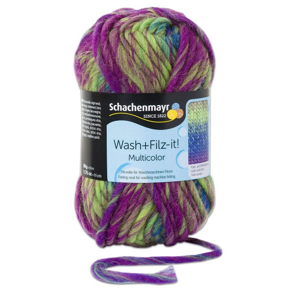Wash+Filz-it Filzwolle multicolor 50g karibik color 100% Wolle, LL 50m, Nadel Nr. 8-9