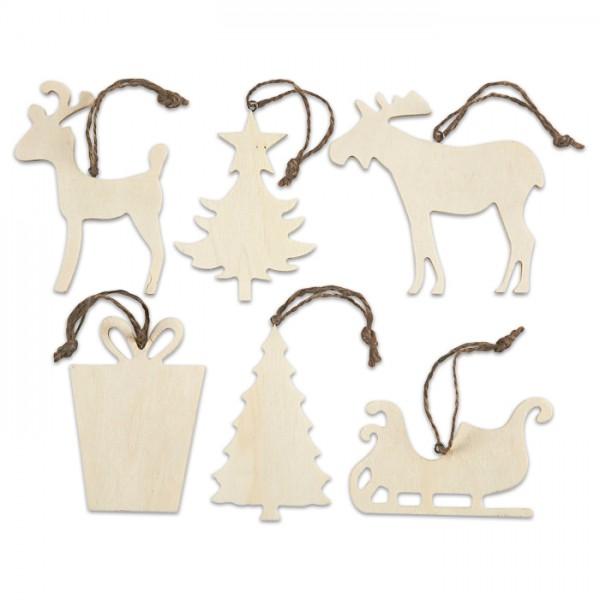 Weihnachtsaufhänger 2 Holz 7-9cm 6 St. natur 4mm stark, mit Aufhängeband