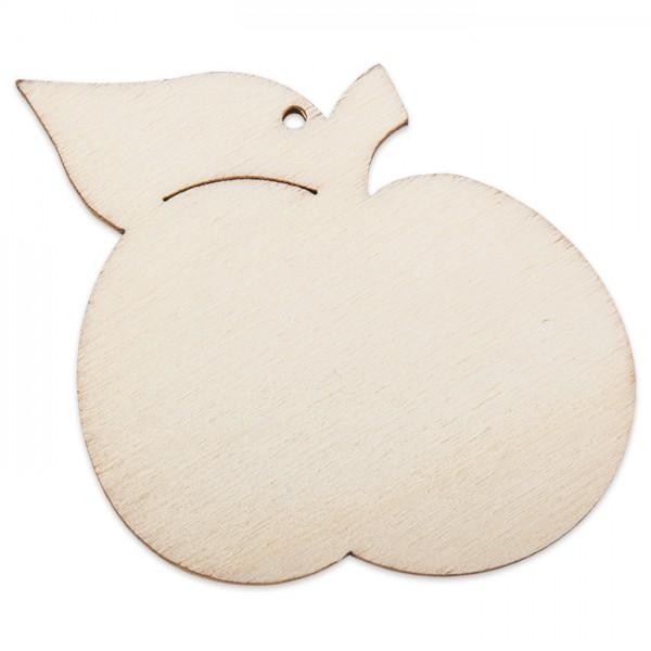 Holzmotiv Apfel 3mm stark ca. 6cm natur