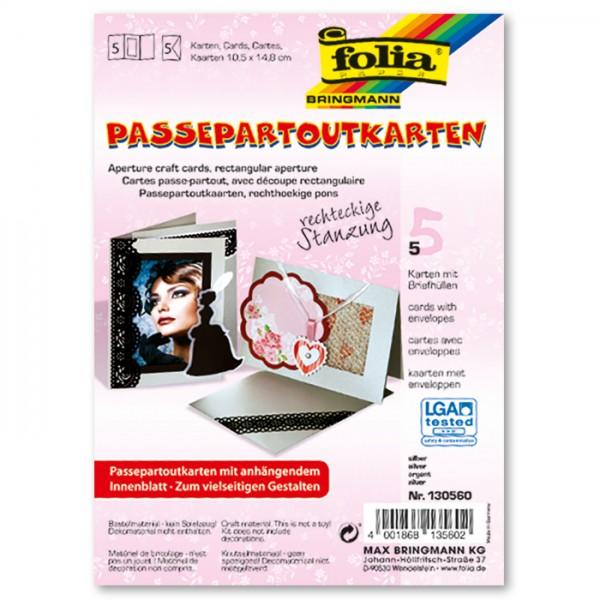 Passepartoutkarten DIN A6 5 St. Rechteck silber inkl. Kuvert&Einlegeblatt, 220g/m²
