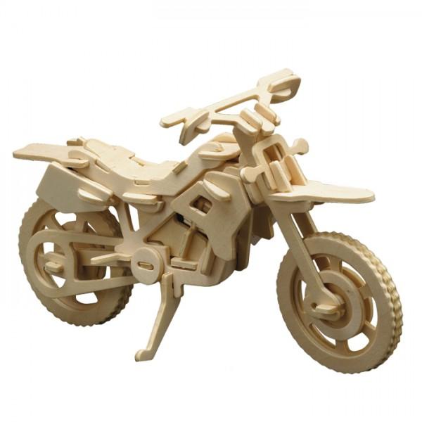 Holzbausatz Cross-Motorrad 56 Teile 25x13cm, vorgestanzt, zum Zusammenstecken