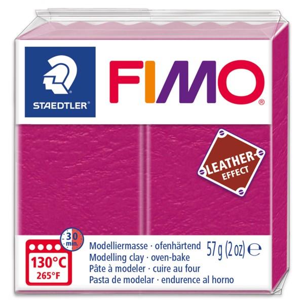 FIMO Leder-Effekt 55x55x15mm 57g beere ofenhärtende Modelliermasse, leather effect