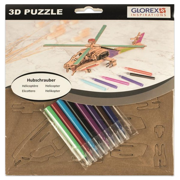 3D-Puzzle Pappe Helikopter natur ca. 22x21x2cm, inkl. 8 Filzstifte
