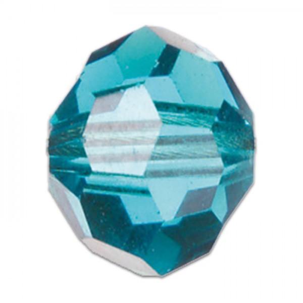 Facettenschliffperlen 6mm 30 St. aqua transparent, feuerpoliert, Glas, Lochgr. ca. 1mm