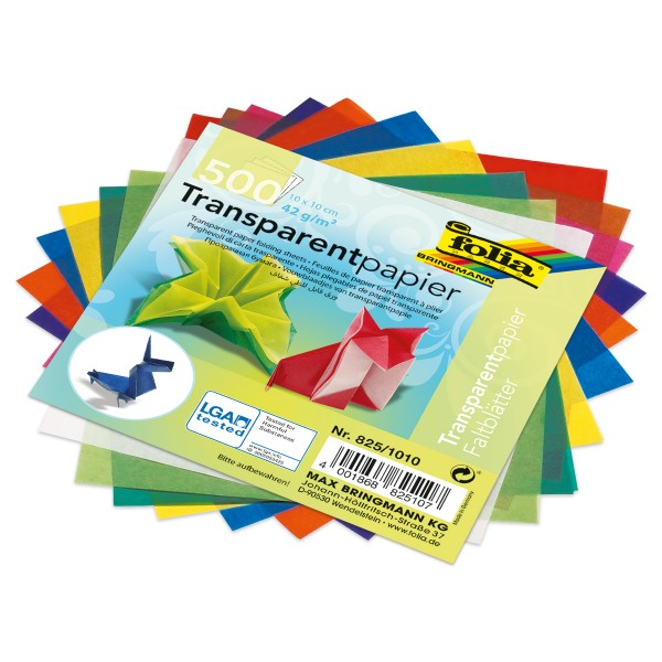 Faltblätter Transparentpapier 10x10cm 500 Bl. 10 Farben, 42g/m²