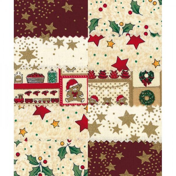 Patchwork-Set 10 Zuschnitte à 45x55cm Weihnachten ecru 100% Baumwolle, 140g/m²