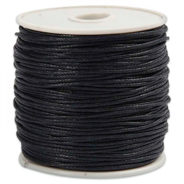 Baumwollband gewachst 1mm 40m schwarz 100% Baumwolle