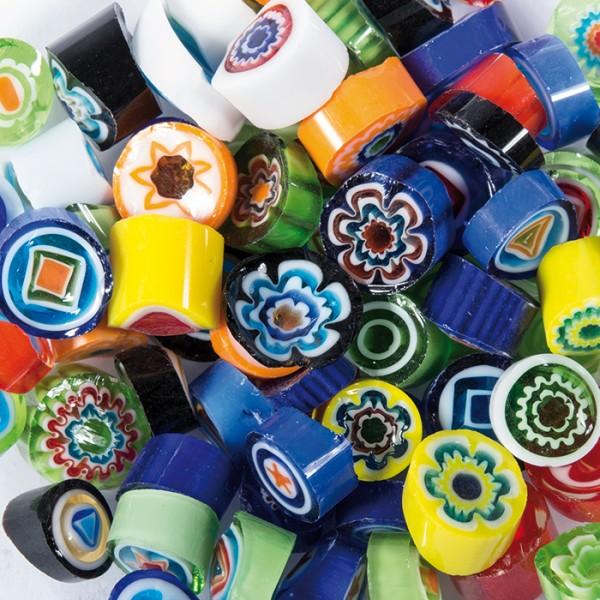 Glasmosaik Millefiori Ø ca. 9-10mm 100g bunt mix ca. 110 Steine, ca. 4-5mm stark