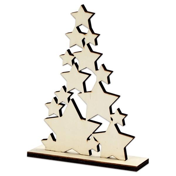 Freistehender Weihnachtsbaum Holz 19,6x14,7x4cm natur