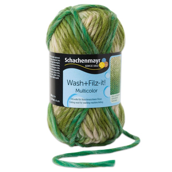 Wash+Filz-it Filzwolle multicolor 50g jungle 100% Wolle, LL 50m, Nadel Nr. 8-9